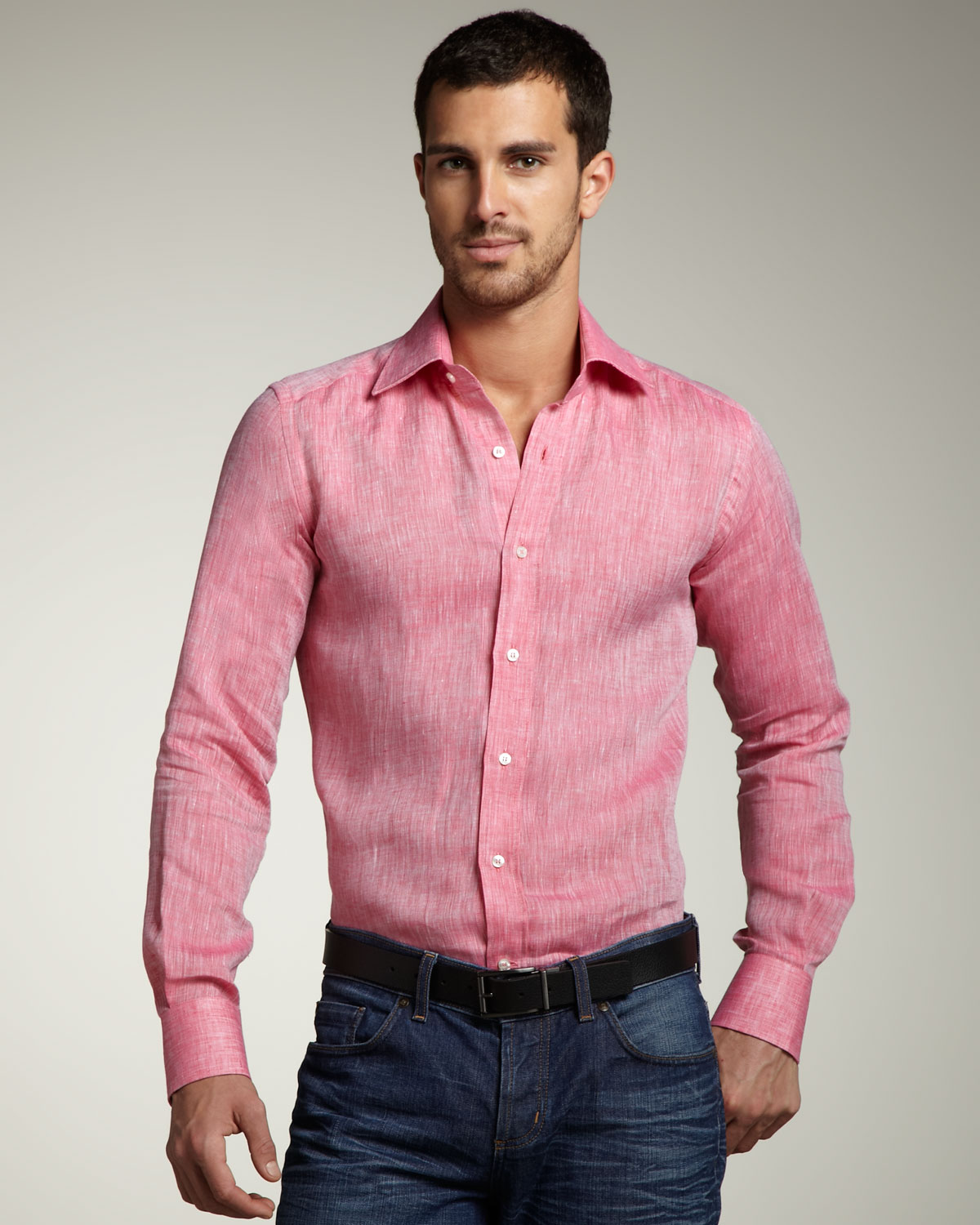 Etro linen sport shirt in pink for men lyst for Coral shirts for guys
