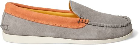 Maison Kitsunй Quoddy Two-tone Suede Boat Shoes in Gray for Men