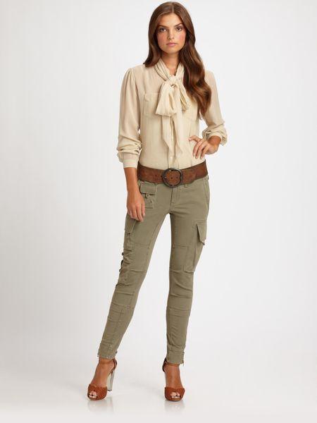 Amazing Lauren By Ralph Lauren Long Sleeve Ruffle Front Blouse In White  Lyst