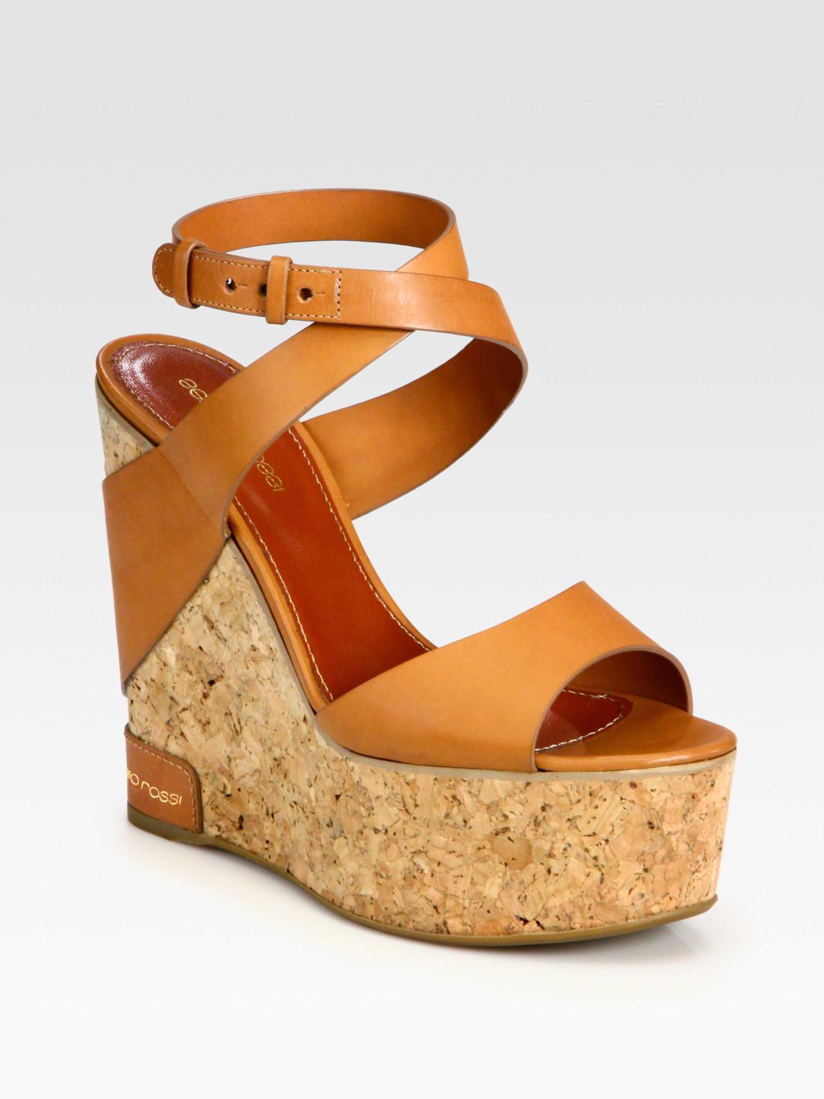 Sergio Rossi Leather Cork Wedge Platform Sandals In Brown