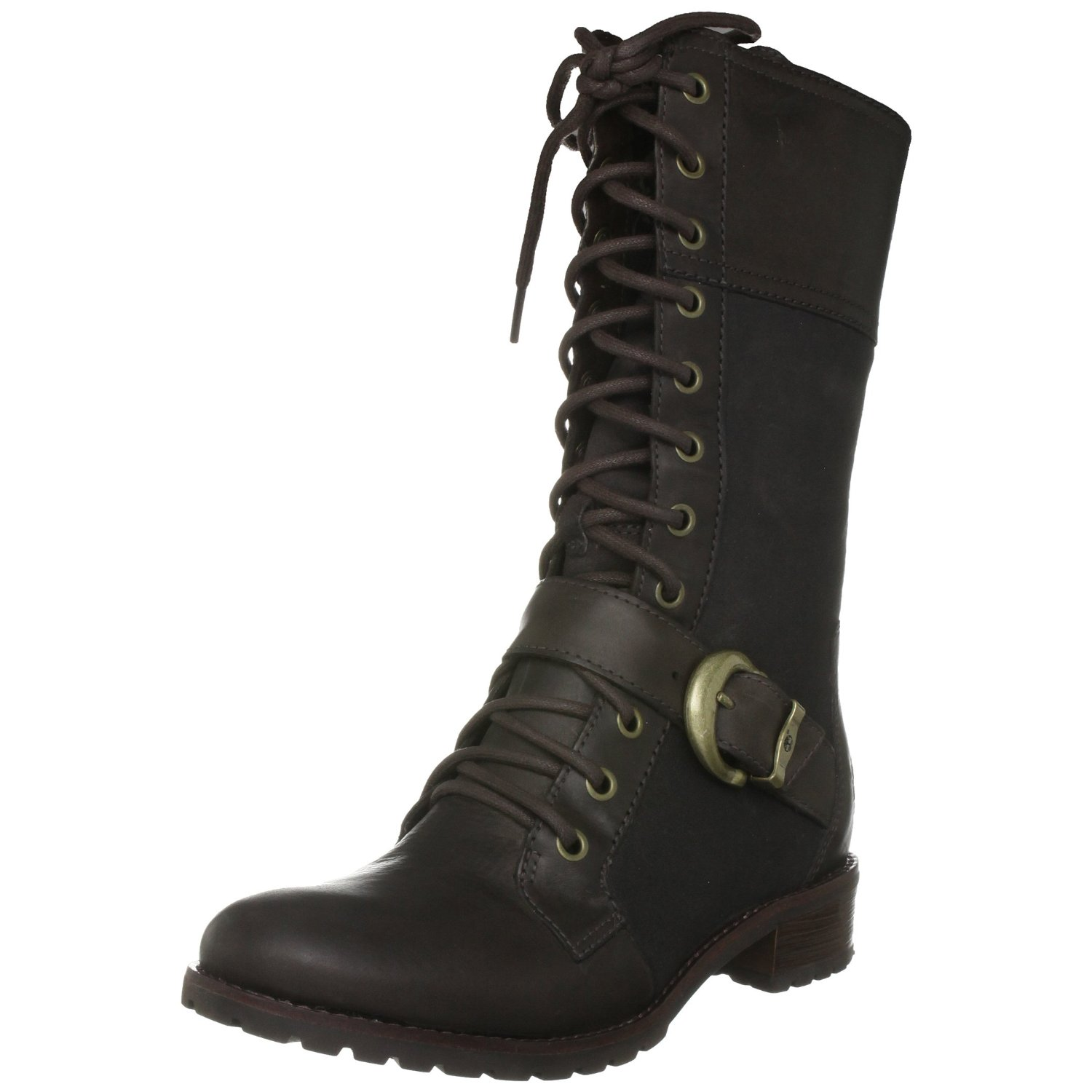 timberland bethel buckle knee high boot in brown