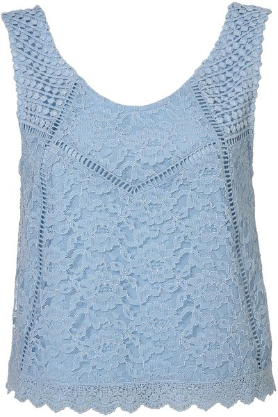 Topshop Lace Mix Sleeveless Shell in Blue
