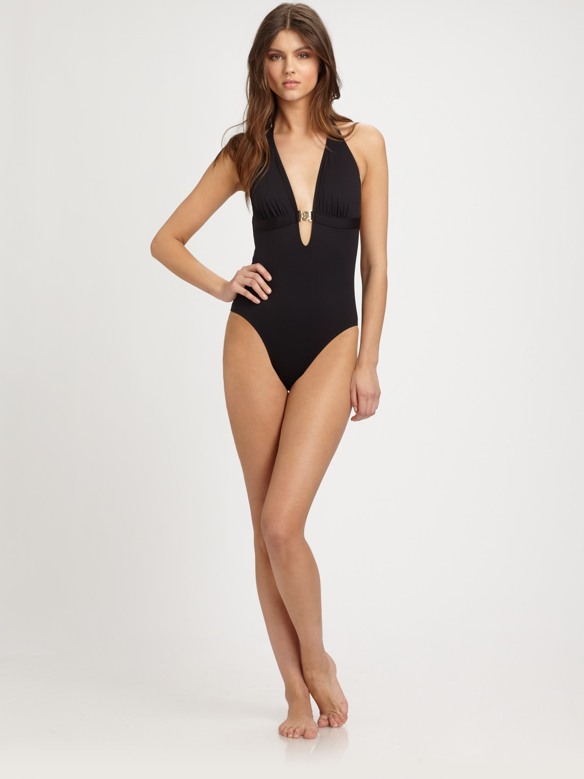 23fe64232a Tory Burch One-piece Halter Swimsuit in Black - Lyst