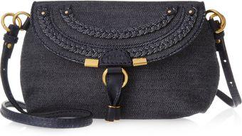 Chloé Marcie Denim and Leather Shoulder Bag - Lyst