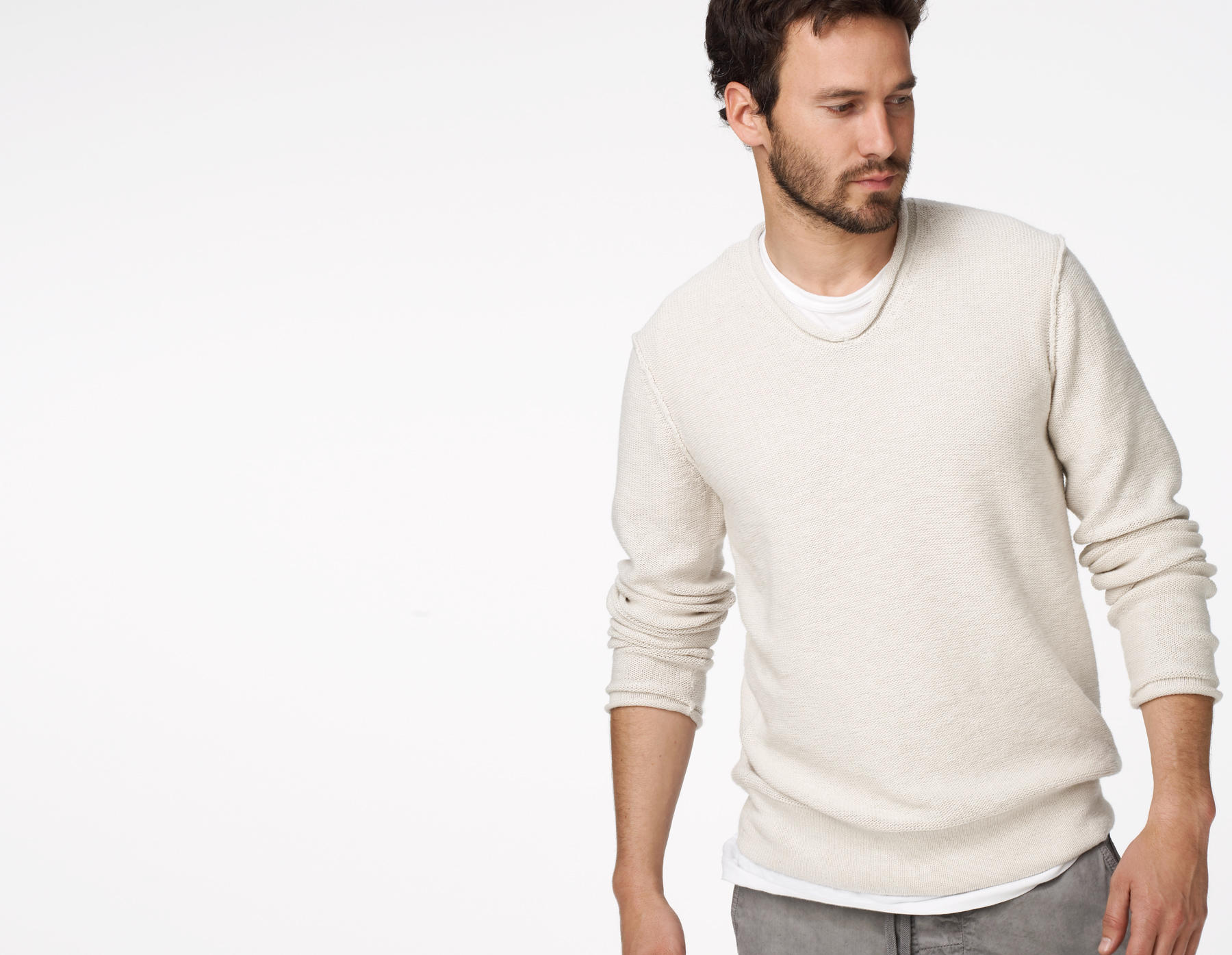 James perse V-neck Sweater in White for Men | Lyst