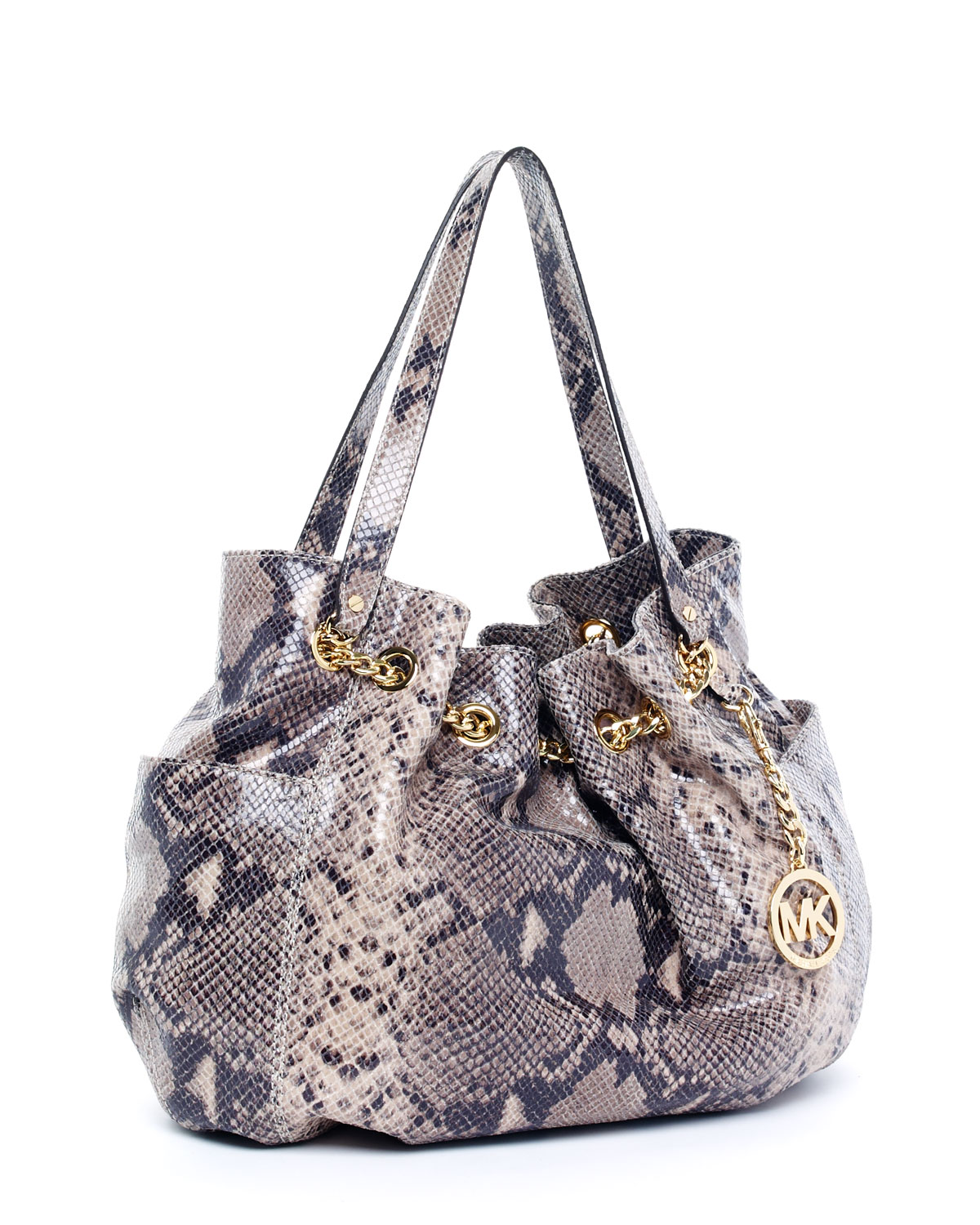 0a36a99fdea3a Michael Kors Jet Set Python-embossed Chain Ring Tote