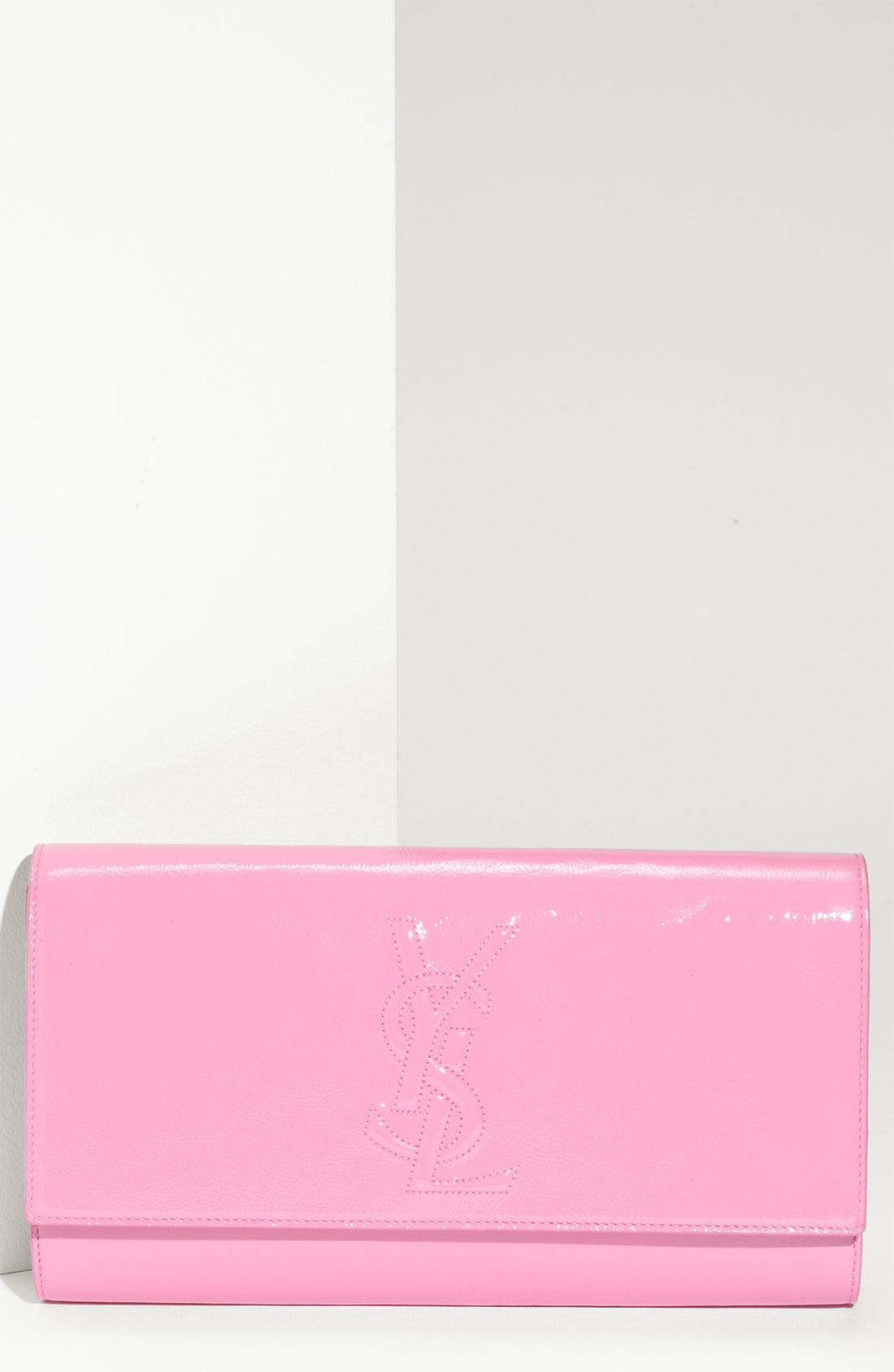 Saint laurent Belle De Jour - Large Patent Envelope Clutch in Pink ...