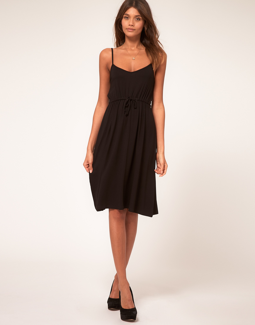 Asos collection Asos Midi Summer Dress with Tie Waist in Black - Lyst