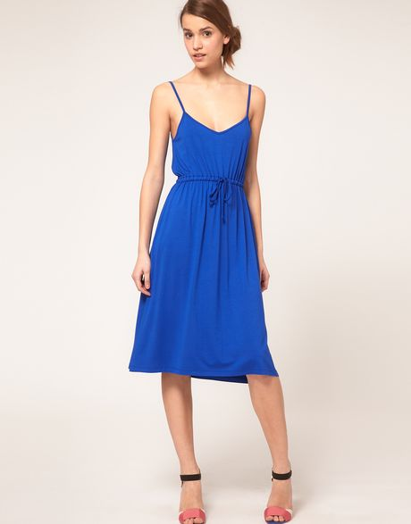 Asos Collection Asos Midi Summer Dress with Tie Waist in ...