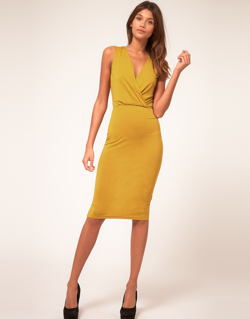 Asos collection Asos Pencil Dress with Wrap Front in ...