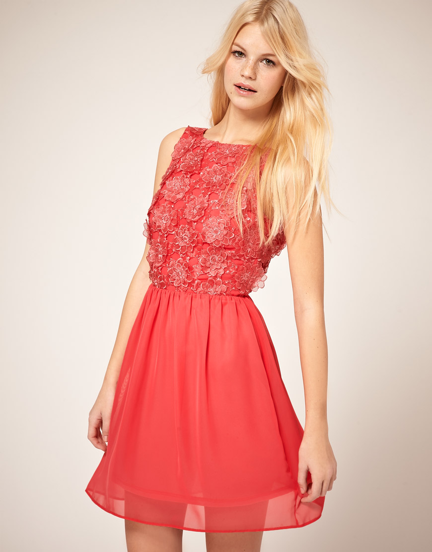 River Island Skater Dress With Lace Applique