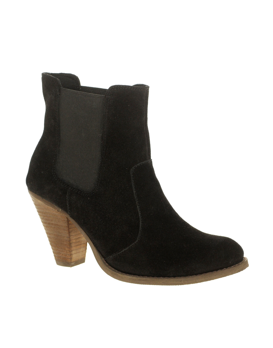 asos asos ajay suede chelsea western ankle boots in black