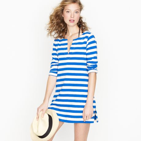 Knitted Dress on Crew Knit Tunic Dress In Stripe In Blue  Blue Grotto    Lyst
