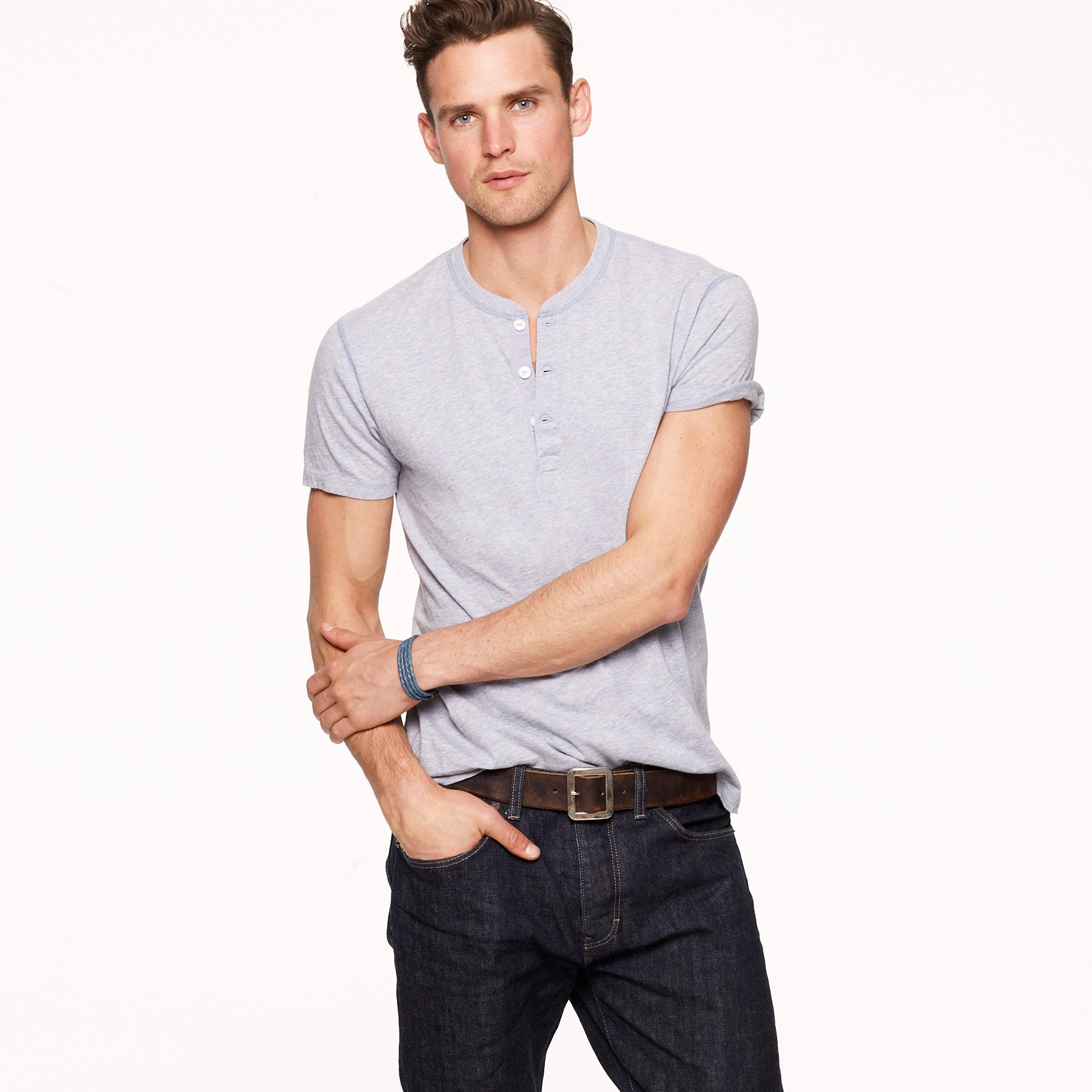 Broken in short sleeve henley in slim fit in gray for J crew mens outfits