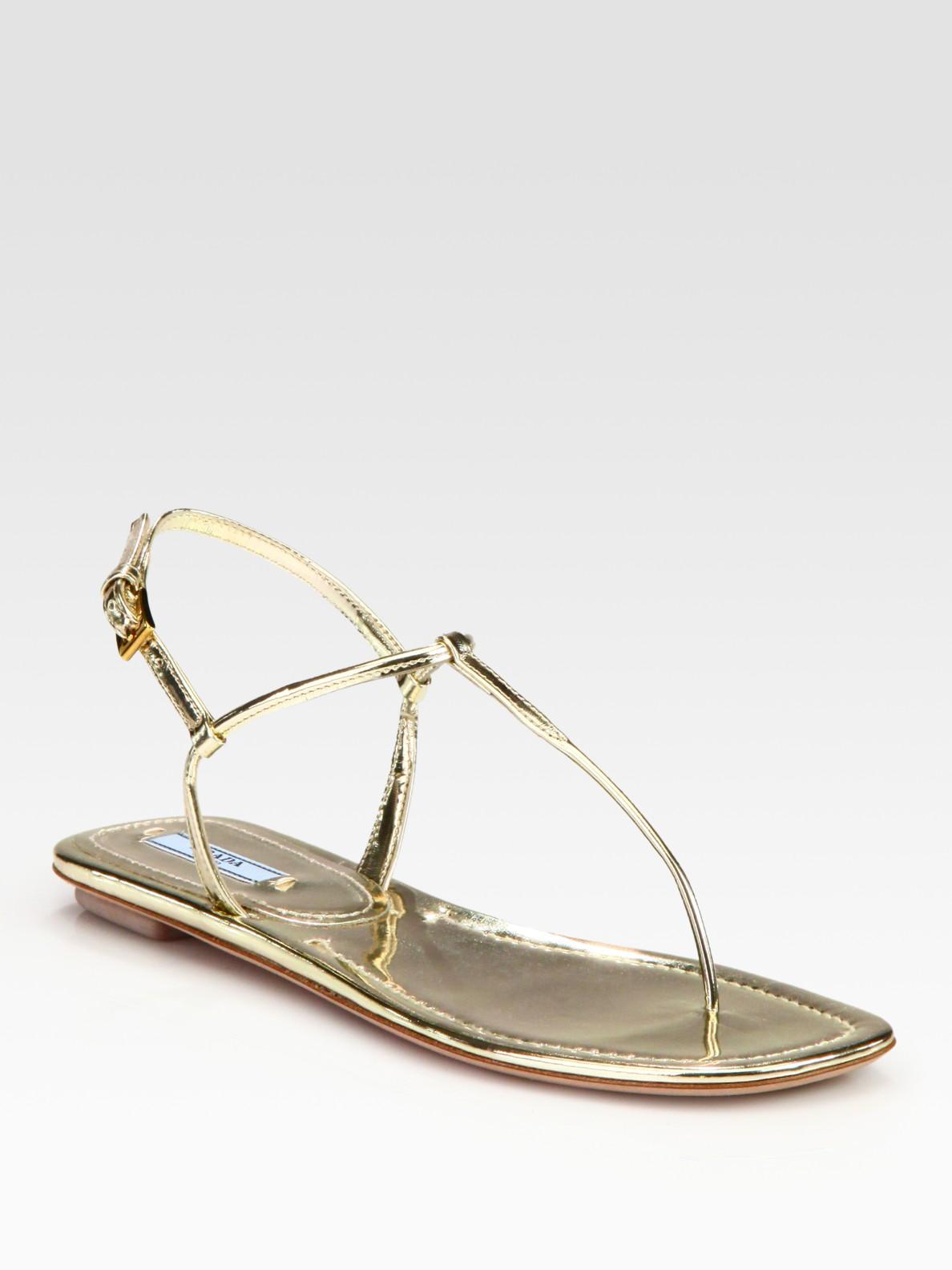8459e64ad Lyst - Prada Metallic Leather Thong Flat Sandals in Metallic