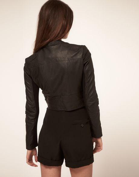 very by vero moda vero moda very leather biker jacket in black lyst. Black Bedroom Furniture Sets. Home Design Ideas