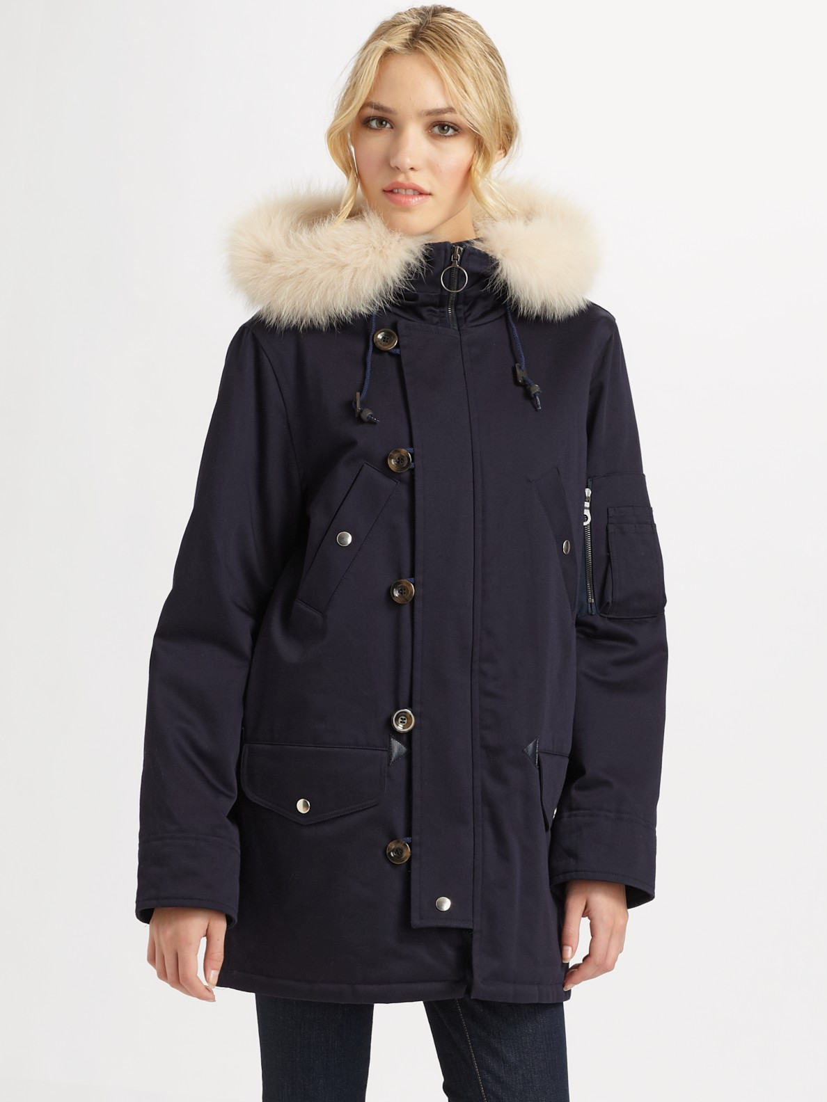 A.p.c. Fur-trimmed Hooded Parka in Blue | Lyst