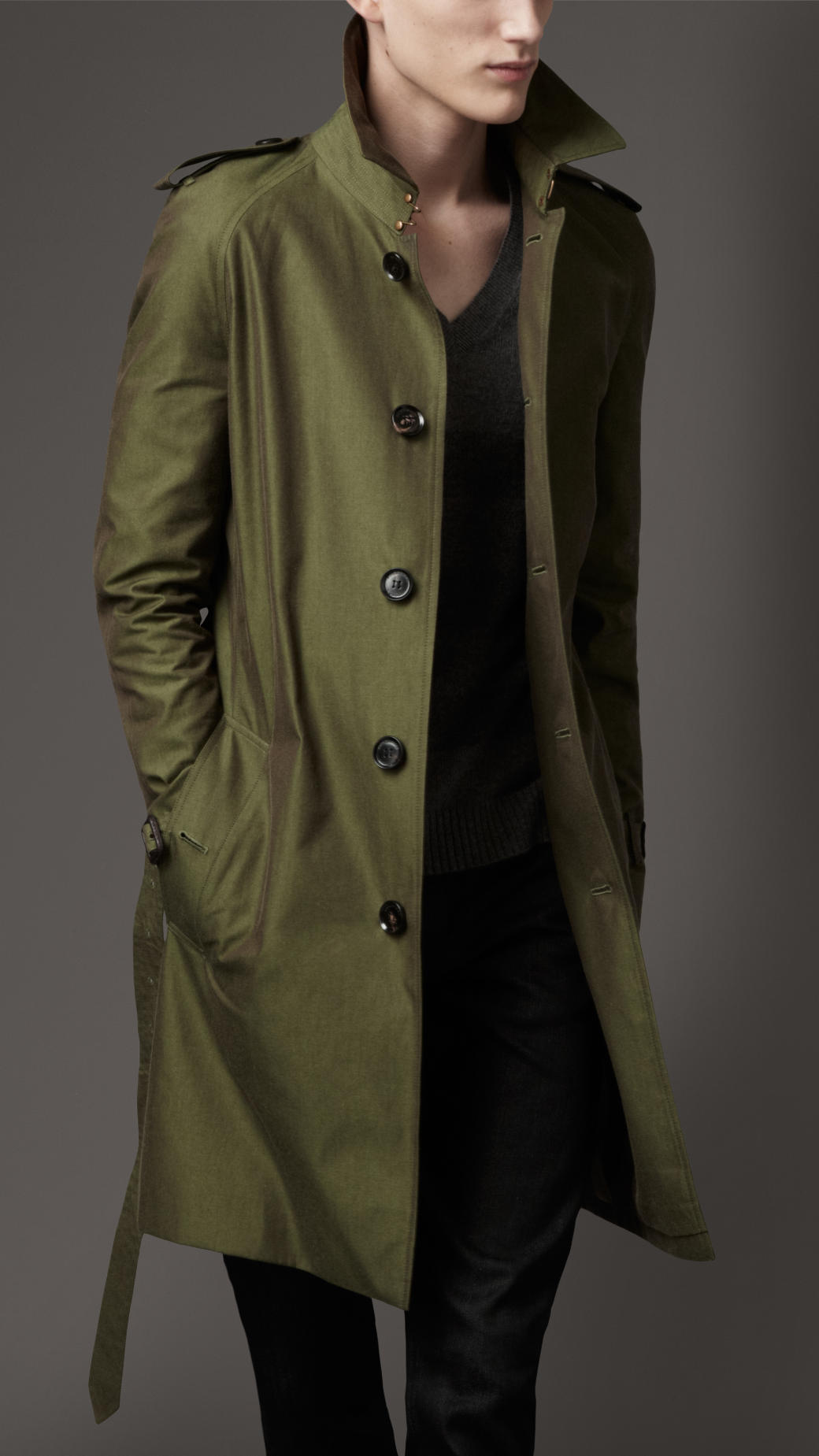 Burberry Classic Cotton Trench Coat In Green For Men