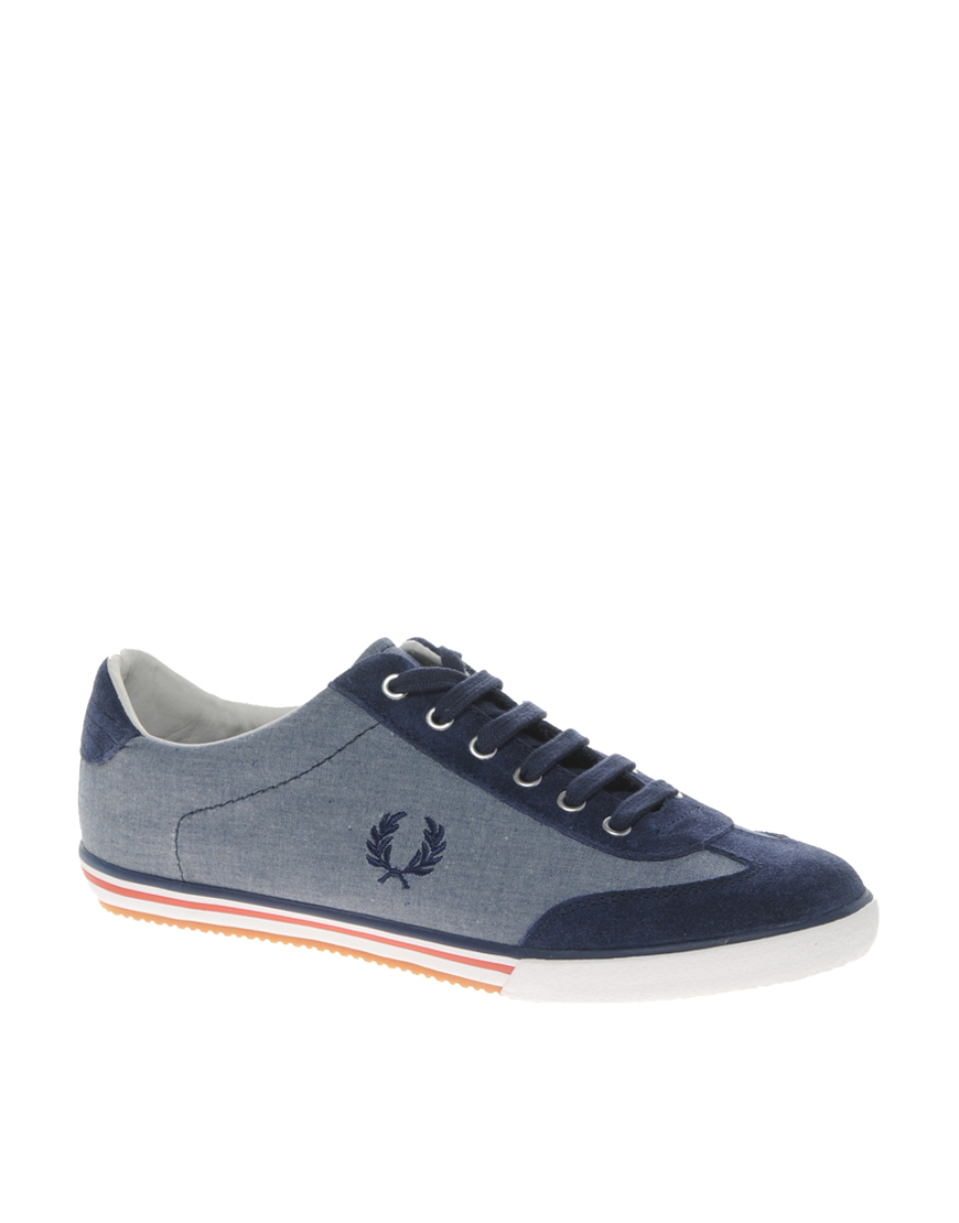 fred perry shoes fred perry newington chambray trainers in. Black Bedroom Furniture Sets. Home Design Ideas