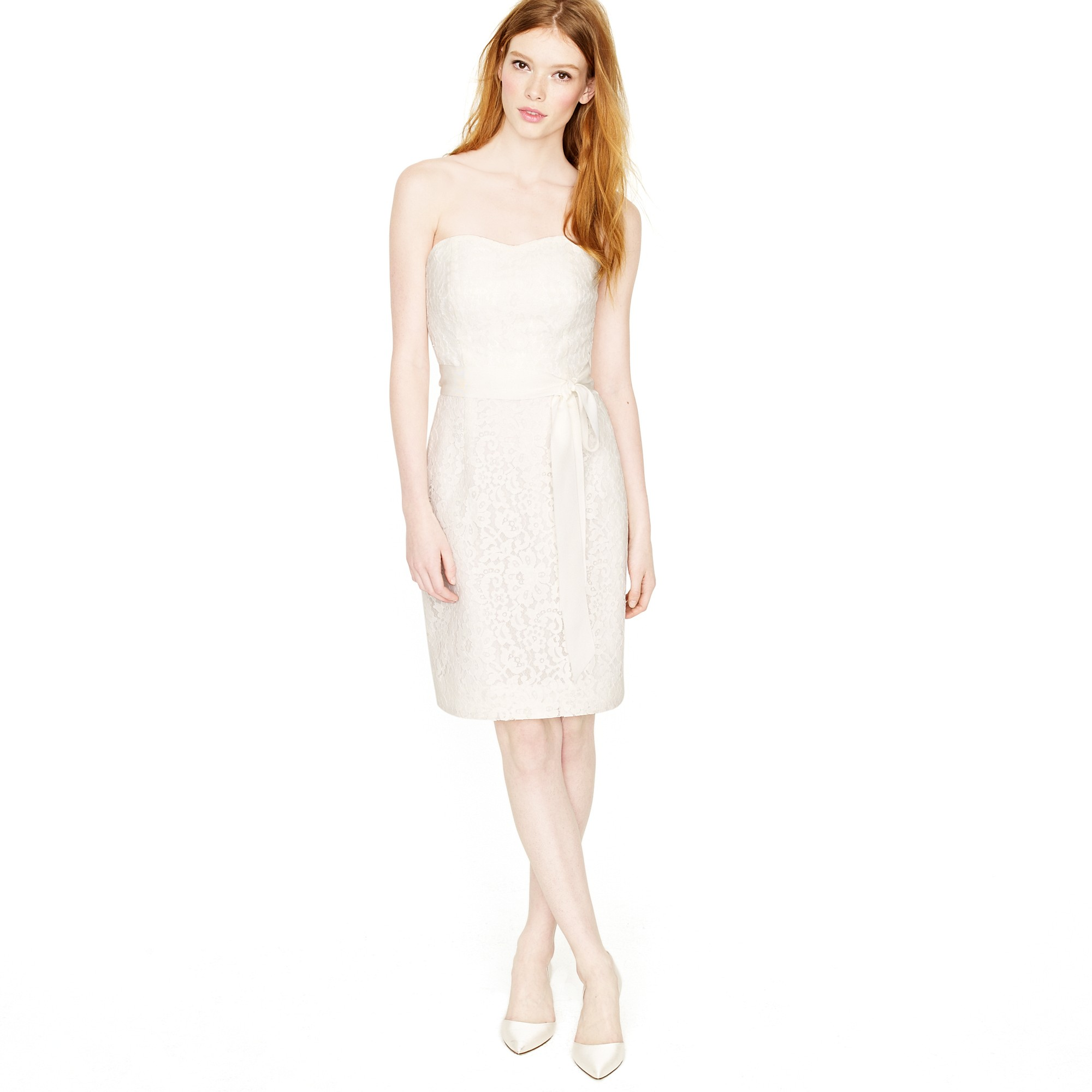 Laura lace dress in white ivory lyst for J crew short wedding dresses