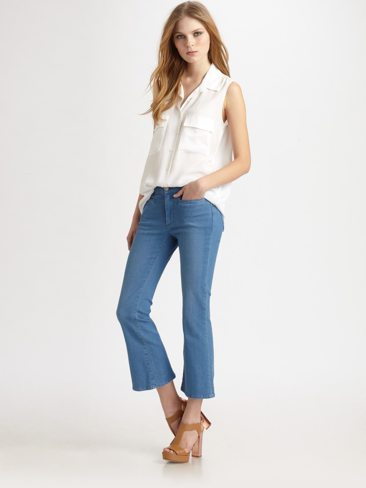 m i h jeans monaco cropped flare jeans in blue lyst. Black Bedroom Furniture Sets. Home Design Ideas