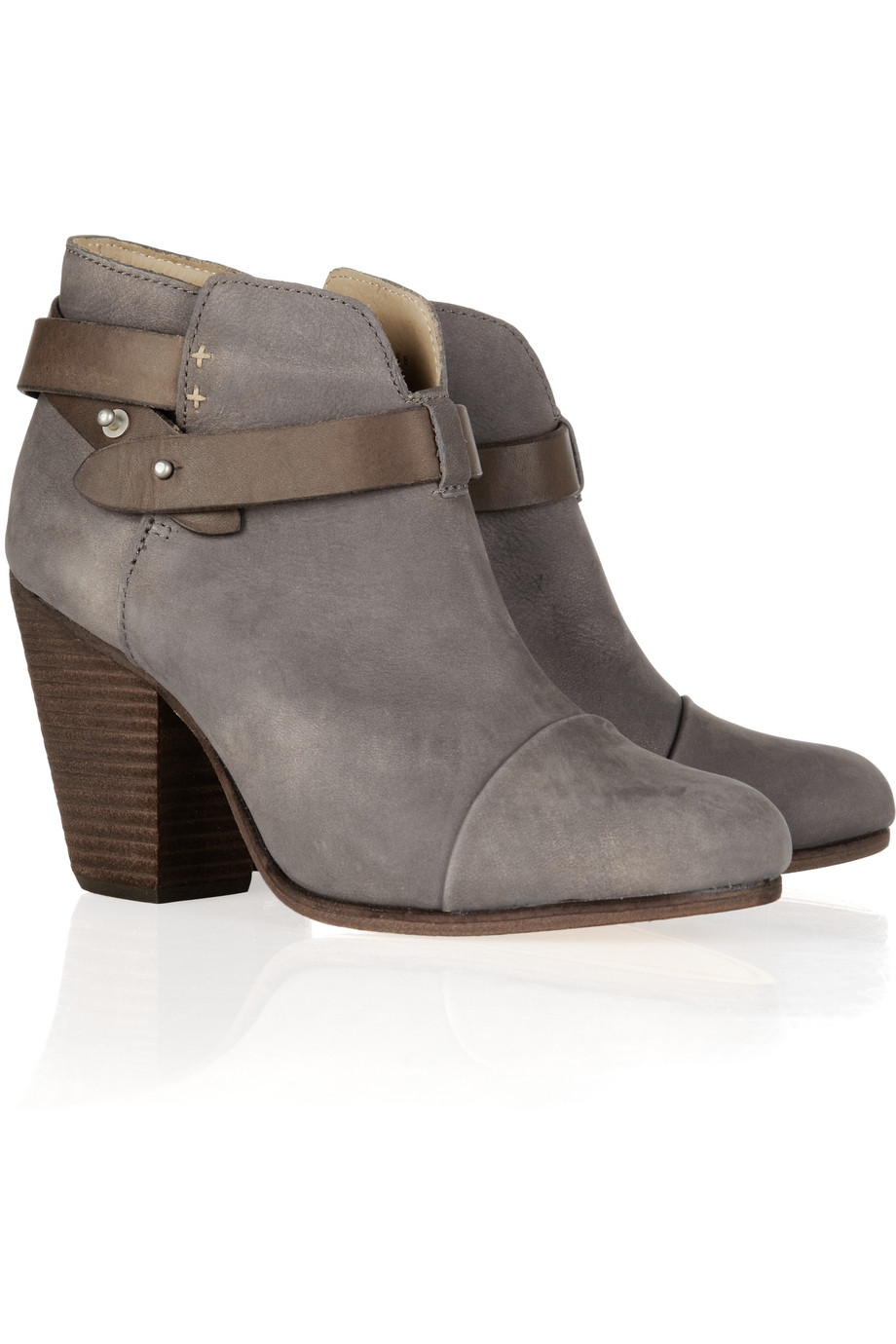 rag bone harrow brushed leather ankle boots in gray