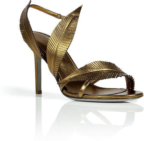 Sergio Rossi Bronze Leaf Design Sandals In Gold Bronze
