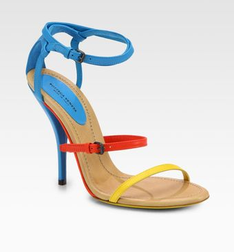 Bottega Veneta Leather Colorblock Sandals - Lyst