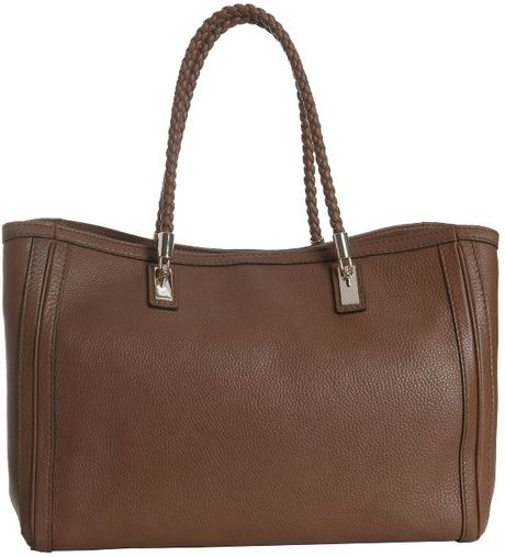Gucci Brown Leather Bella Braided Handle Tote In Brown Lyst