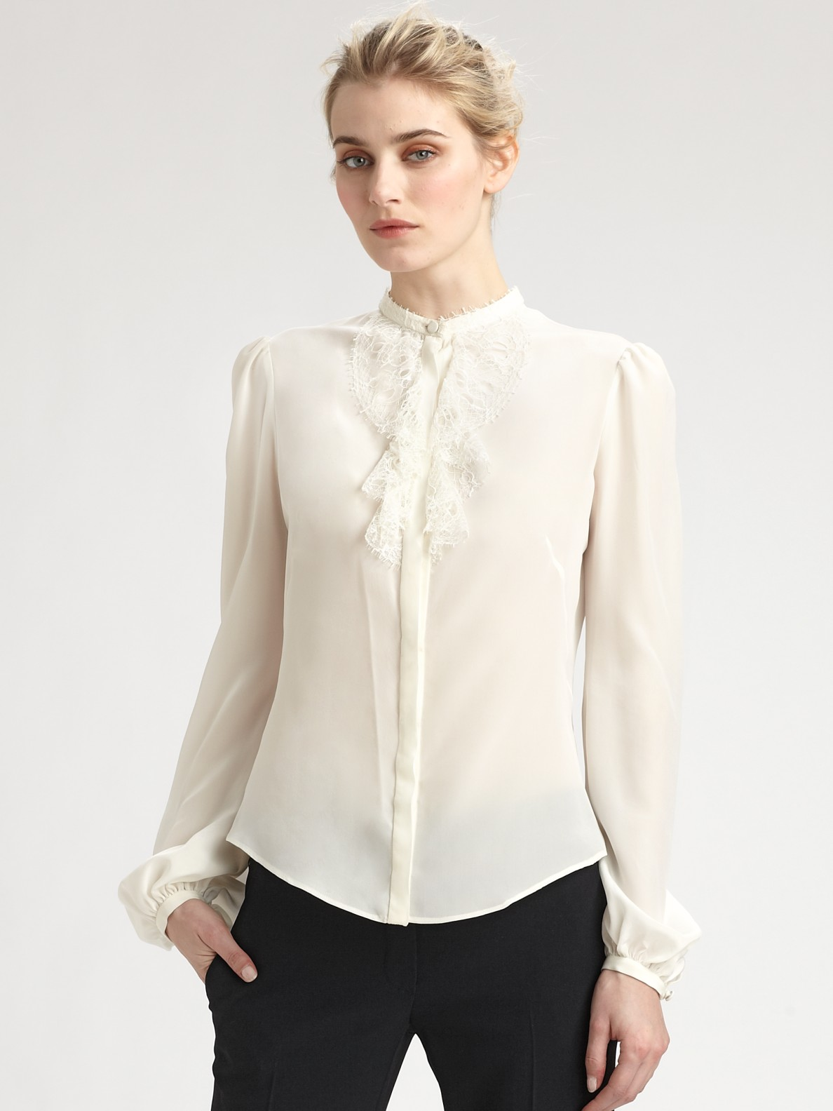 Lyst Alexander Mcqueen Lace Trimmed Silk Blouse In White