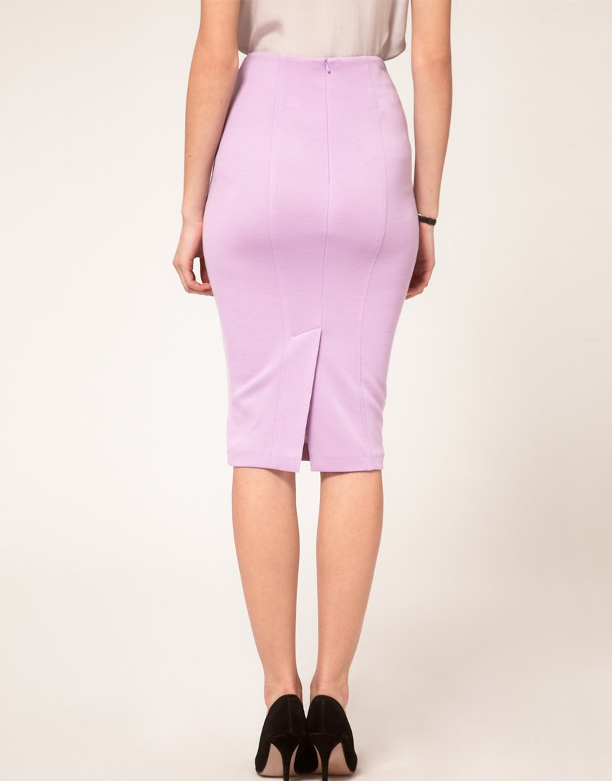 Asos collection Asos Ponti Pencil Skirt with Pockets in Pink | Lyst