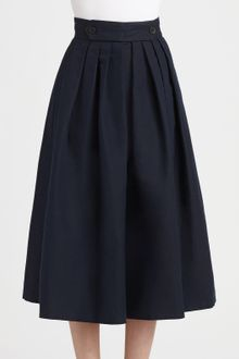 Burberry Prorsum Linencotton Pleated Skirt - Lyst