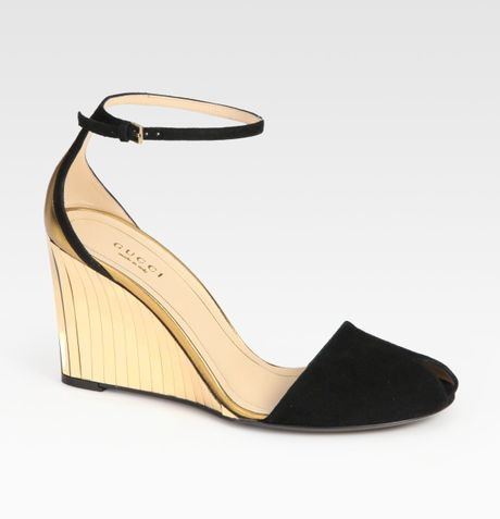 Gucci Delphine Suede and Metallic Leather Wedge Sandals in Black