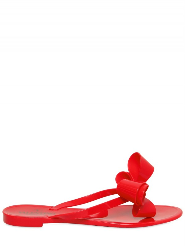 Lyst - Valentino Rubber Bow Flip Flop Flats In Red-7265