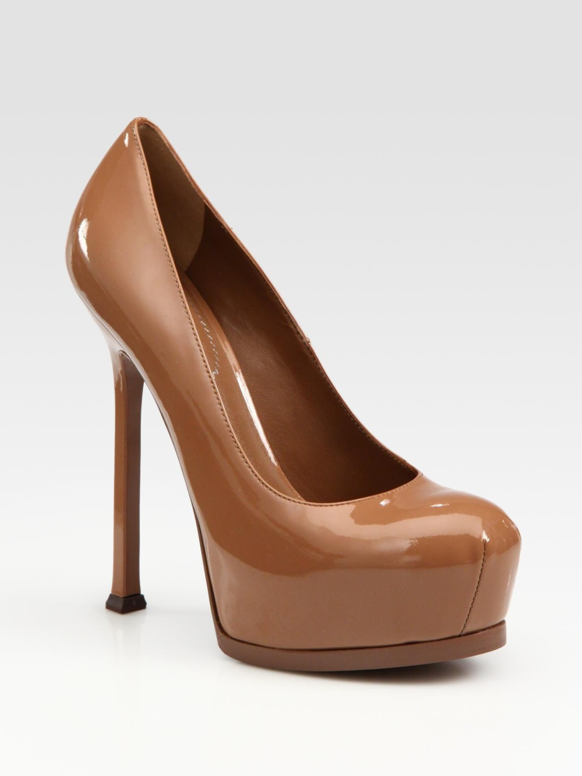 Lyst - Saint Laurent Ysl Trib Too Patent Leather Pumps in Brown