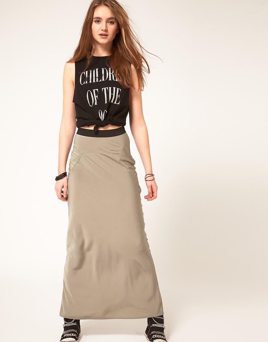 Khaki Maxi Skirt - Skirts