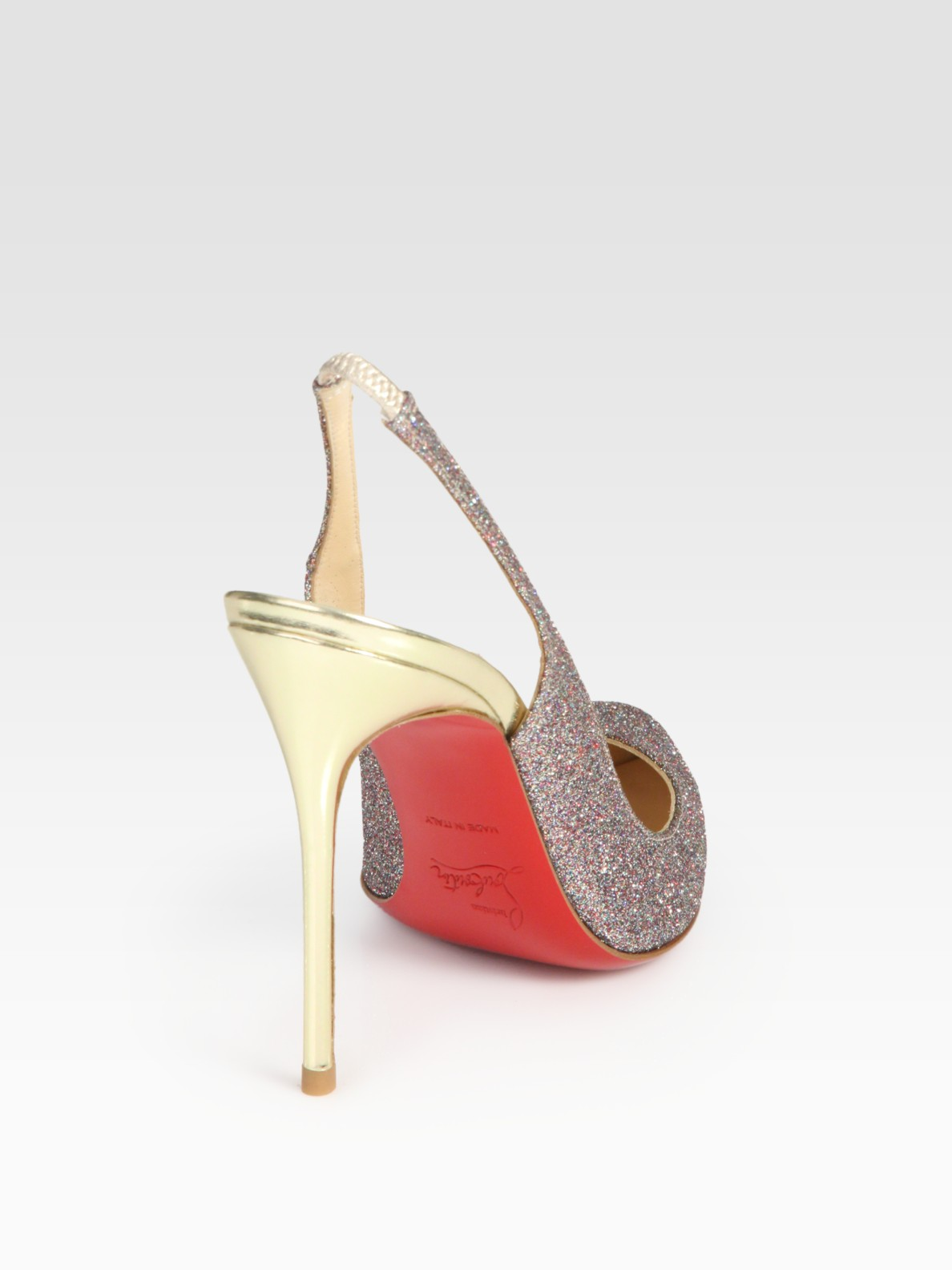 Christian louboutin Corneille Glitter-coated Leather Slingback ...
