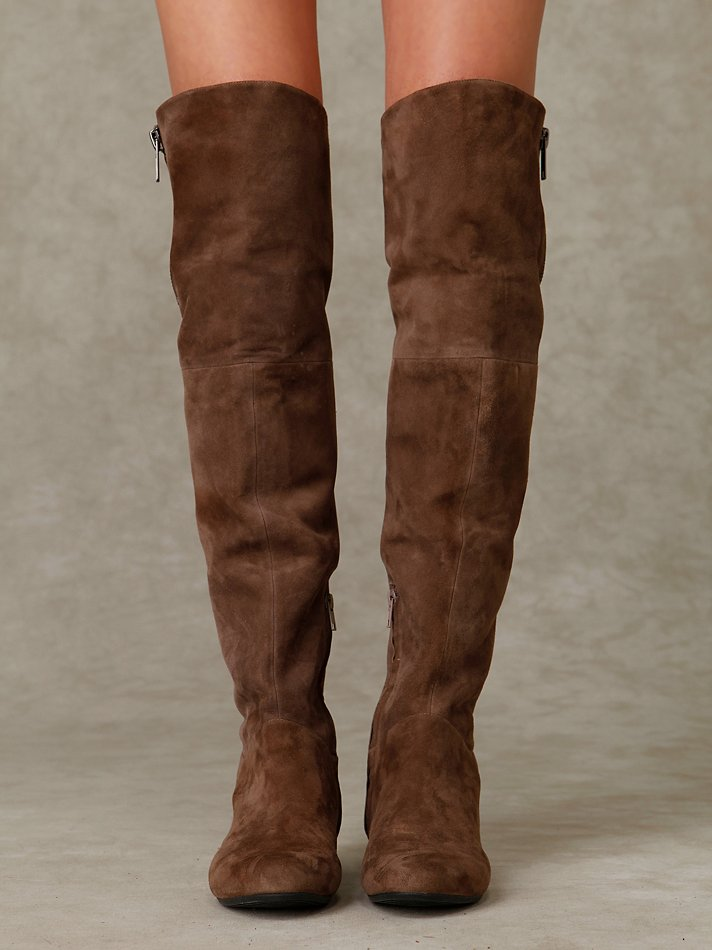 Over The Knee Brown Suede Boots - Cr Boot