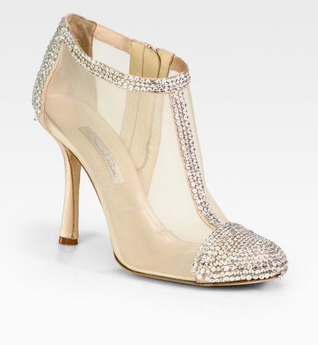 Oscar De La Renta Embellished Satin and Mesh Ankle Boots in Beige (nude)