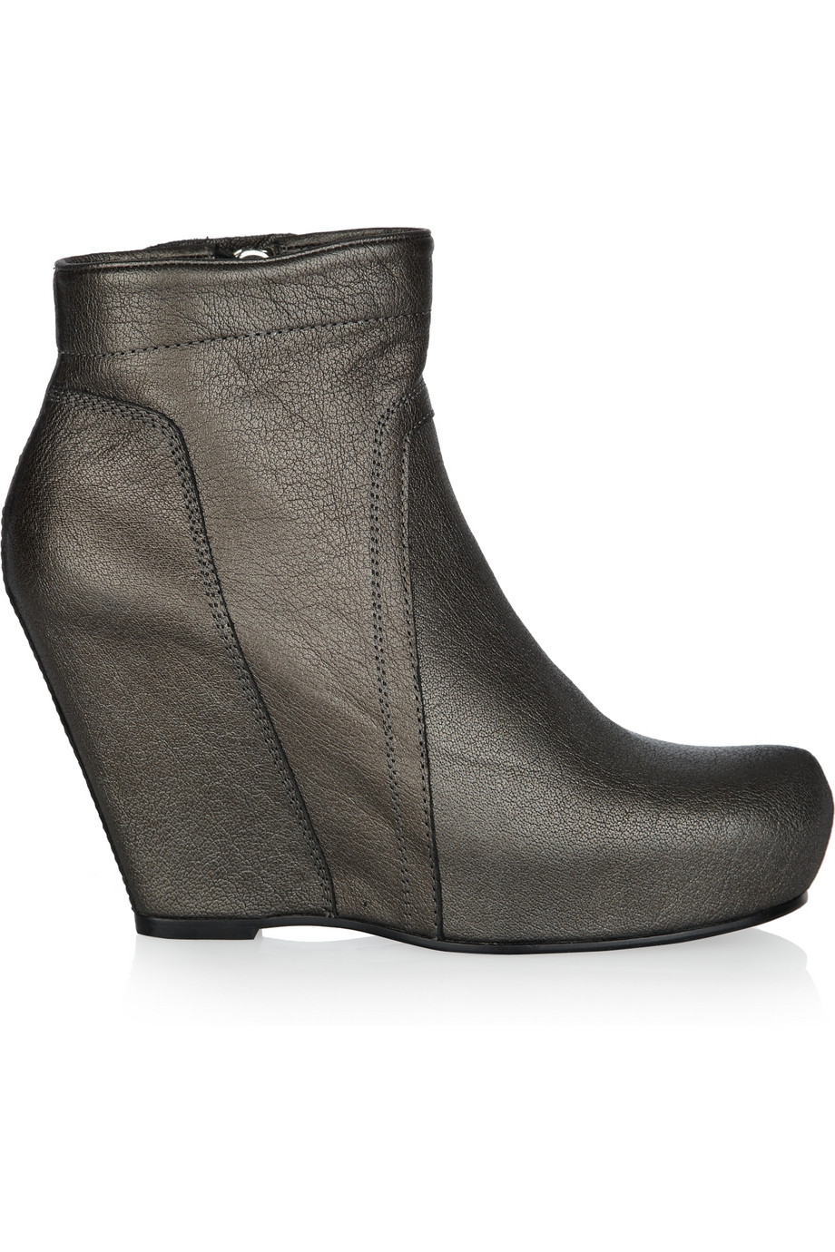 rick owens metallic leather wedge ankle boots in brown lyst