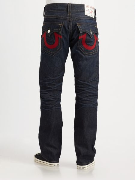 True religion ricky embroidered straight leg jeans in