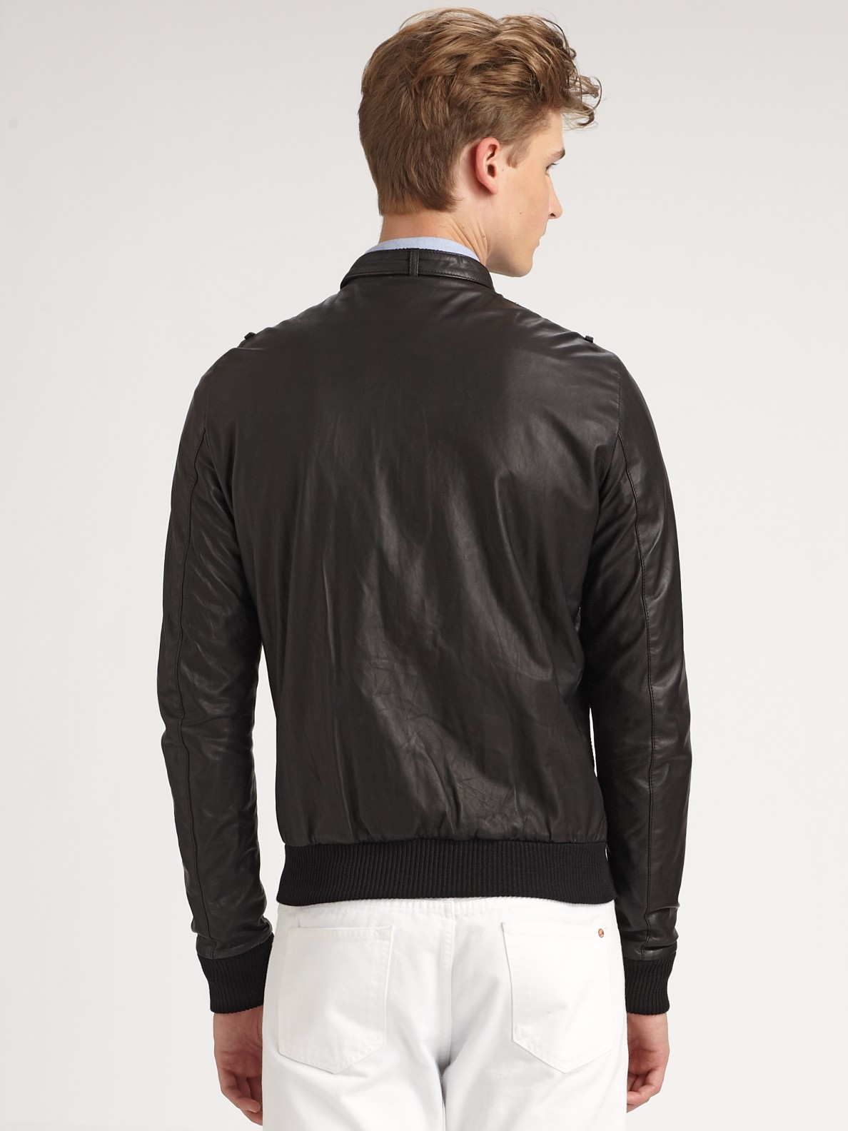 Band of outsiders Leather Jacket in Black for Men | Lyst