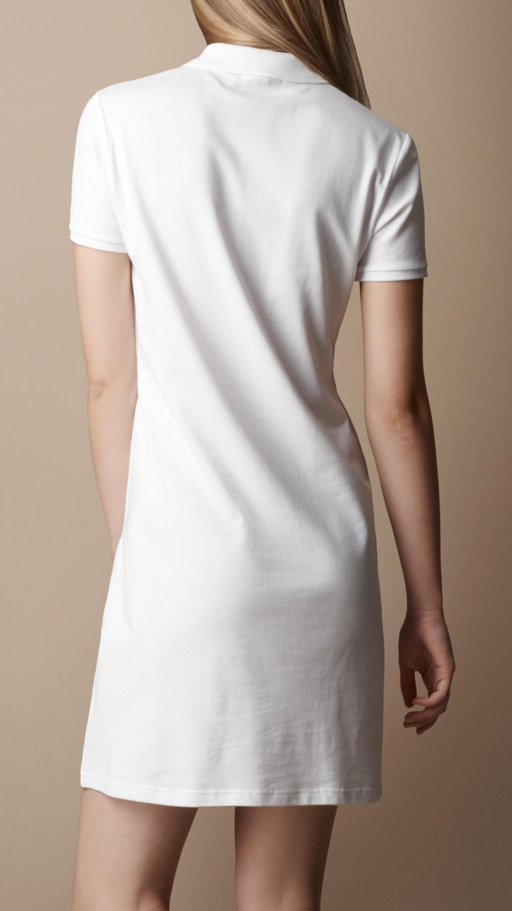 0fbb21200f85 Lyst - Burberry Cotton Pique Polo Dress in White