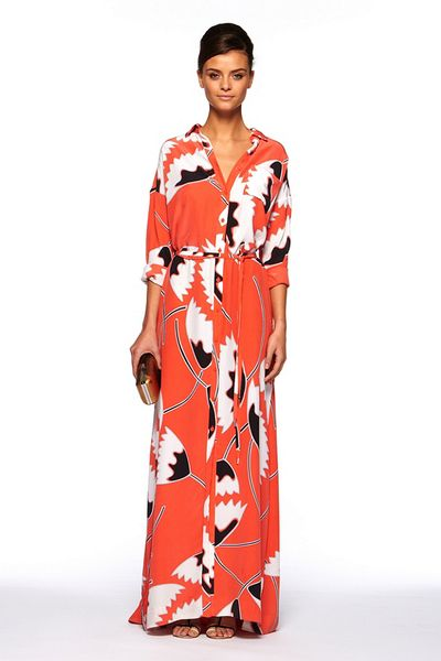Diane Von Furstenberg Laramie Dress in Red (african tulip deep coral)