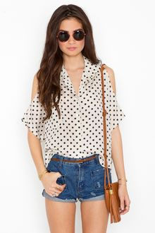 Nasty Gal Spotted Shoulder Blouse - Lyst