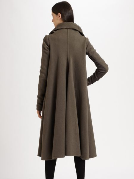 Rick Owens Cashmere Trapeze Coat In Brown Black Lyst