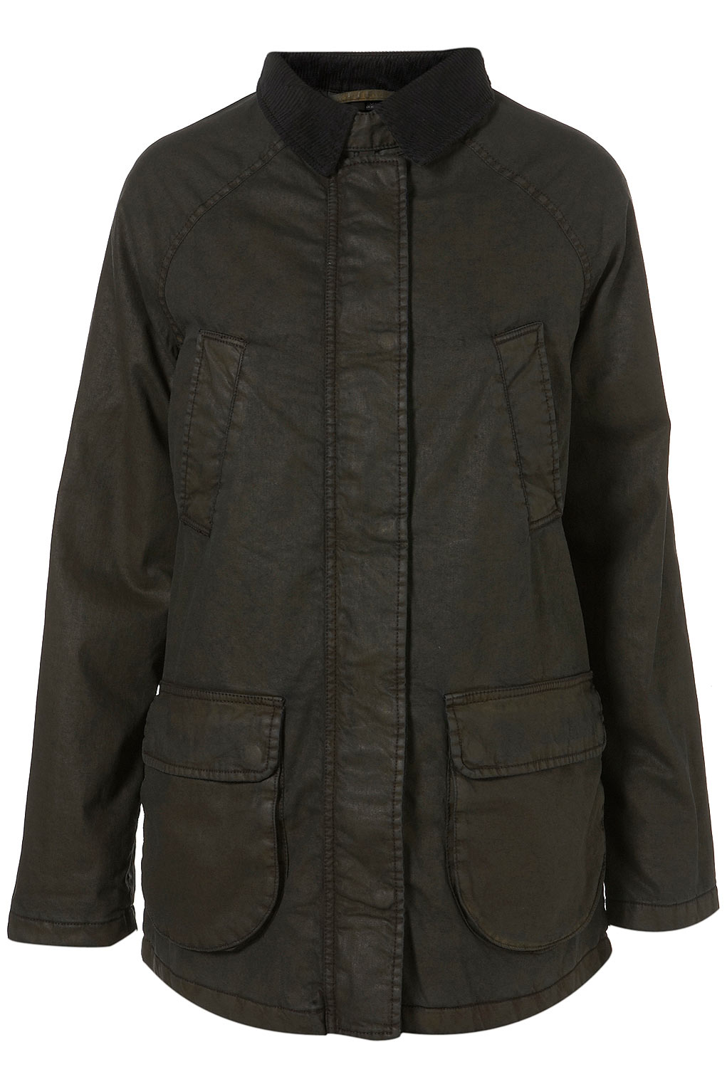Topshop Waxed Parka Jacket in Natural | Lyst