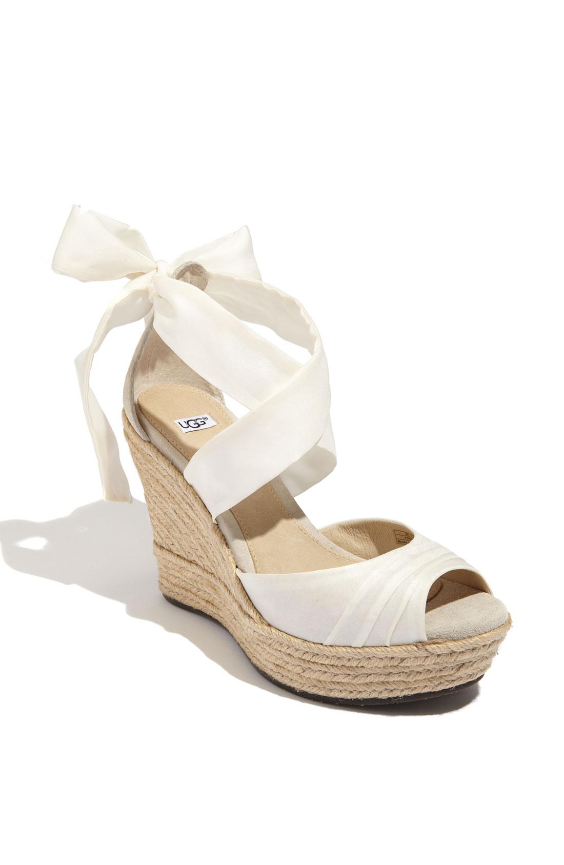 Ugg Sandals Lucianna Wrap In White White Silk Lyst