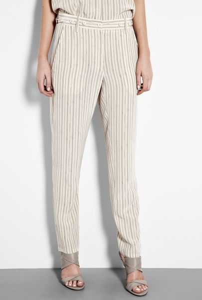 Vanessa Bruno Silk Stripe Trousers in Beige - Lyst