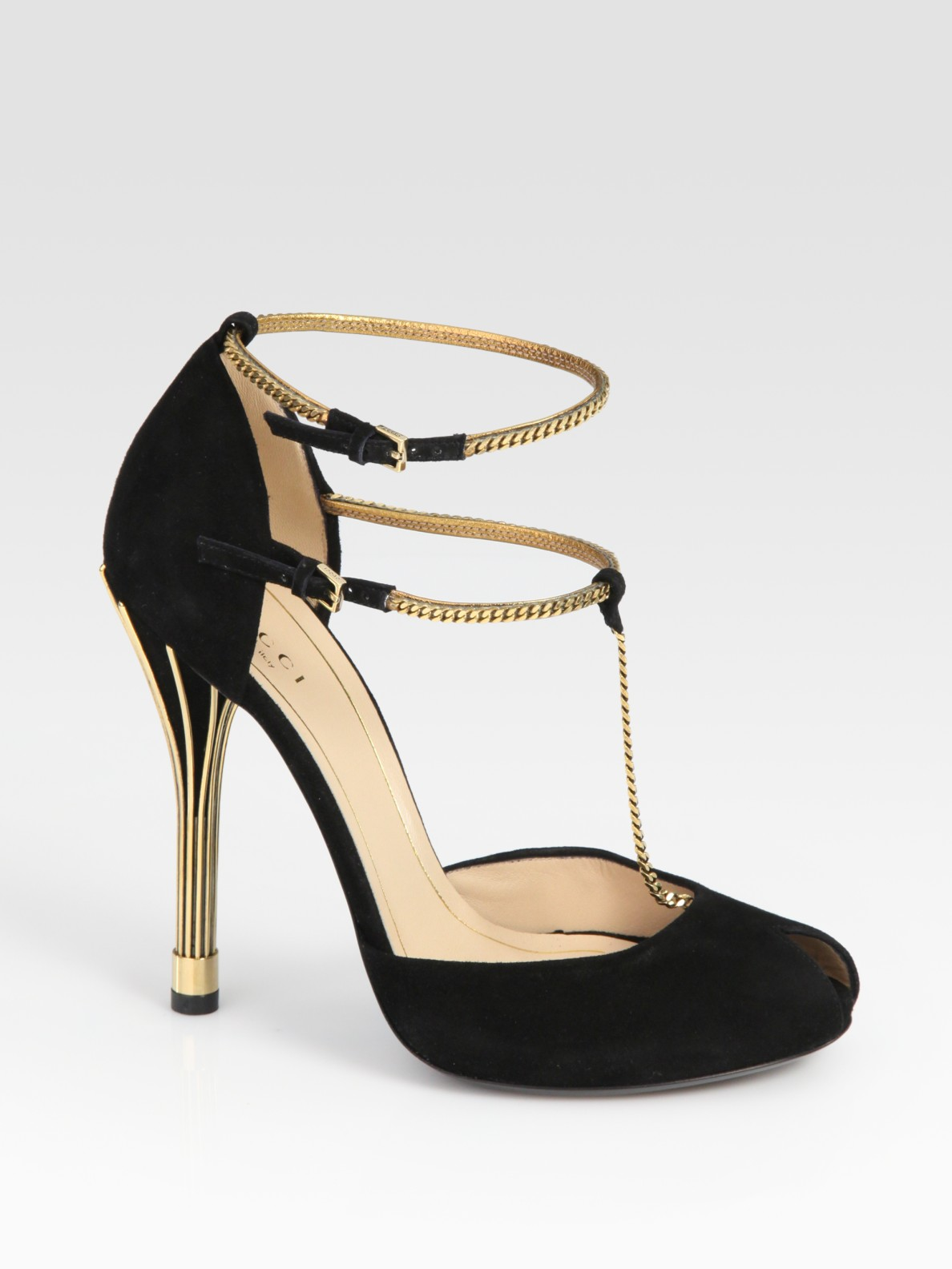 Lyst Gucci Ophelie Suede Chain T Strap Sandals In Black